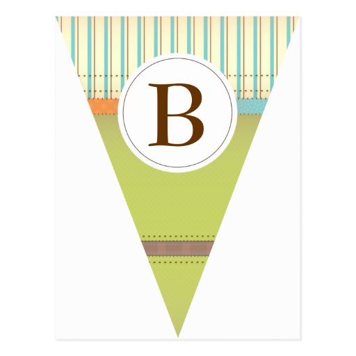 Vintage Green Party Flag Bunting Banner Postcard