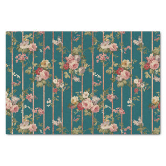 Vintage green pink faux rose gold stripes floral tissue paper