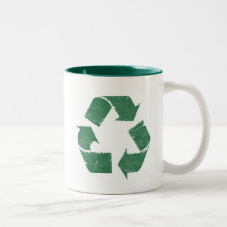 Vintage Green Recycle Sign Two-Tone Coffee Mug