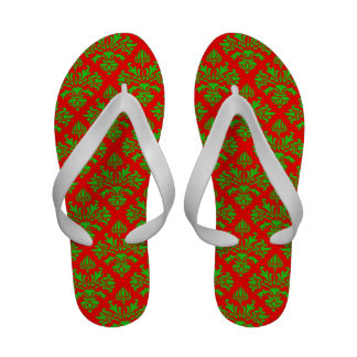 Vintage Green & Red Damask #3 Christmas Flip-Flops