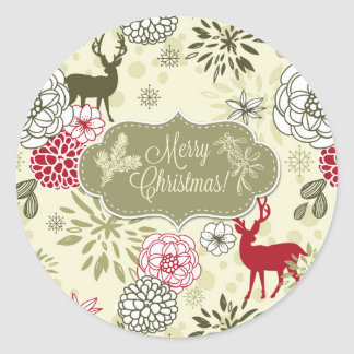 Vintage Green/Red Deer Holiday Sticker