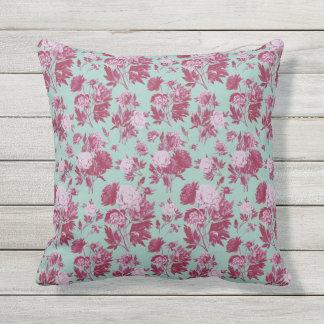 Vintage green - red elegant roses flowers pattern outdoor cushion