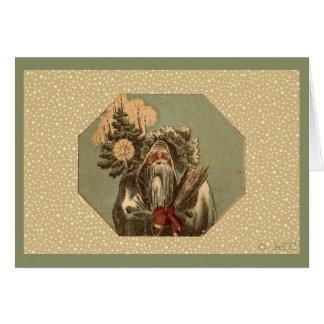 Vintage Green Santa Claus St. Nicholas Card