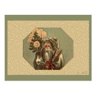 Vintage Green Santa Claus St. Nicholas Postcard