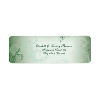 Vintage green scroll leaf wedding label return address label