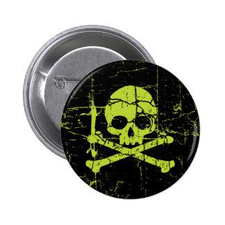 Vintage Green Skull and Crossbones 6 Cm Round Badge