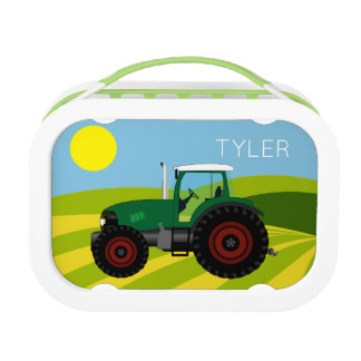 Vintage Green Tractor Lunch Box