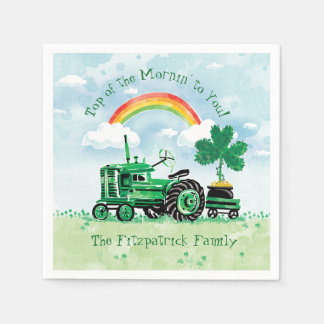 Vintage Green Tractor Shamrock Add Family Name Disposable Napkins