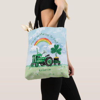 Vintage Green Tractor Shamrock Add Name Tote Bag