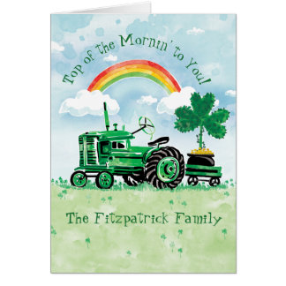Vintage Green Tractor St. Patrick's Day Card