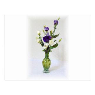 Vintage Green Vase with flowers Postcard