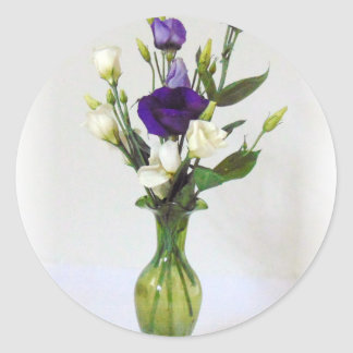 Vintage Green Vase with flowers Round Sticker