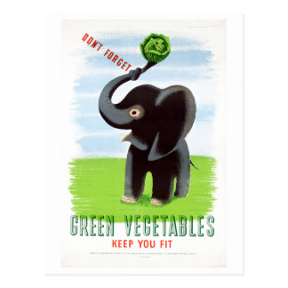 Vintage Green Vegetables Healthy Elephant Postcard