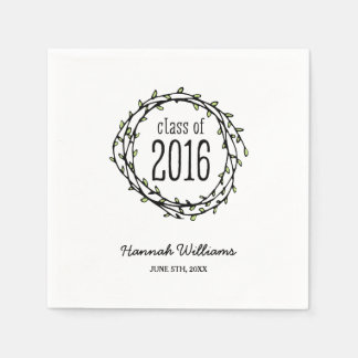 Vintage Green Vines 2016 Graduation Paper Napkin