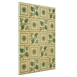 Vintage Green Vines, Leaves and Star Blocks Design Canvas Print