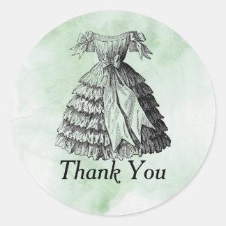 Vintage Green Watercolor Dress Round Sticker