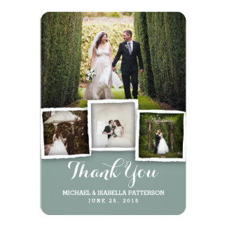 Vintage Green Wedding Photo Thank You Card
