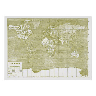 Vintage Green World Map Poster