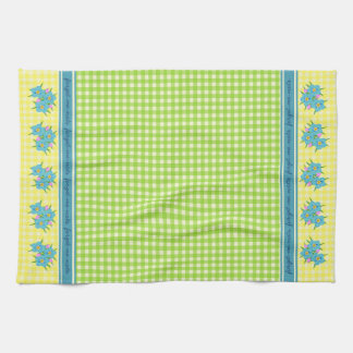 Vintage Green & Yellow Gingham with Forget-Me-Nots Kitchen Towels
