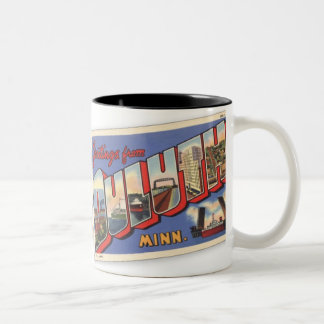 Vintage Greetings from Duluth Minnesota Two-Tone Coffee Mug