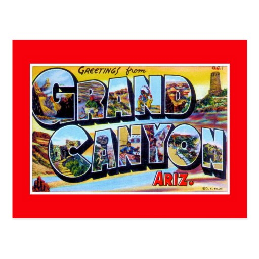 vintage Greetings from Grand Canyon Arizona Post Cards