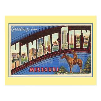 Vintage greetings from Kansas City MO Postcard