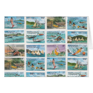 Vintage Grenada Water Sports Postage Stamps Card