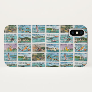 Vintage Grenada Water Sports Postage Stamps iPhone X Case