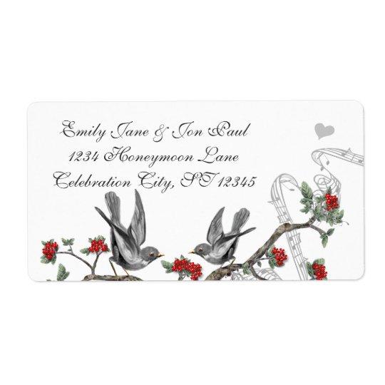 Vintage Grey Birds Red Flowering Branch Label Shipping Label