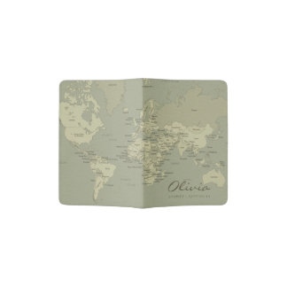 VINTAGE GREY BROWN WORLD MAP LEATHER MONOGRAM PASSPORT HOLDER