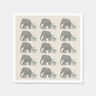 Vintage Grey on Ivory Graphic Elephant Print Paper Napkin