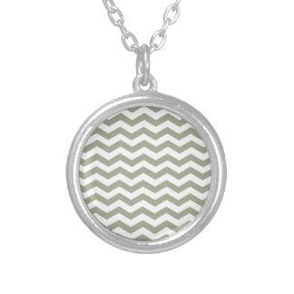 Vintage Grey White Chevron. Zigzag Pattern Necklace