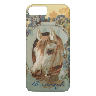 Vintage Grey White Horse Personalized iPhone 7 Plus Case