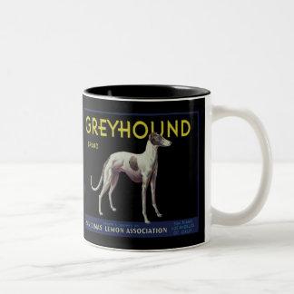 Vintage Greyhound Lemon Label Circa 1920 Mugs