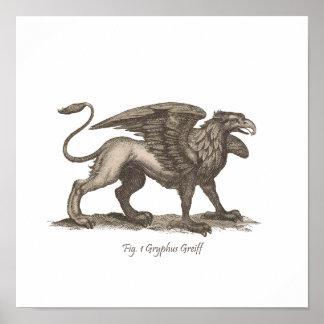 Vintage griffin (gryphus greiff) illustration. poster