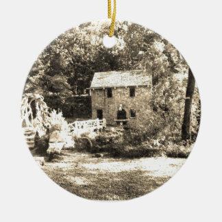 Vintage Grist Mill Round Ceramic Decoration