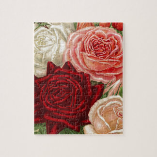 Vintage Group of Pink White and Red Roses Jigsaw Puzzle