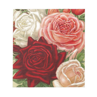 Vintage Group of Pink White and Red Roses Notepad
