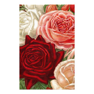 Vintage Group of Pink White and Red Roses Stationery