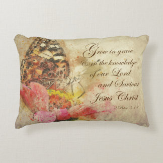 Vintage Grow in Grace Bible Verse Decorative Cushion