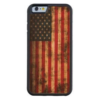 Vintage Grunge American Flag Carved Cherry iPhone 6 Bumper Case