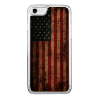 Vintage Grunge American Flag Carved iPhone 7 Case