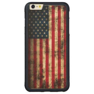 Vintage Grunge American Flag Carved Maple iPhone 6 Plus Bumper Case