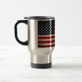 Vintage Grunge American Flag Stainless Steel Travel Mug