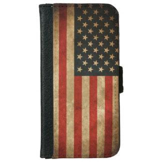 Vintage Grunge American Flag - USA Patriotic iPhone 6 Wallet Case