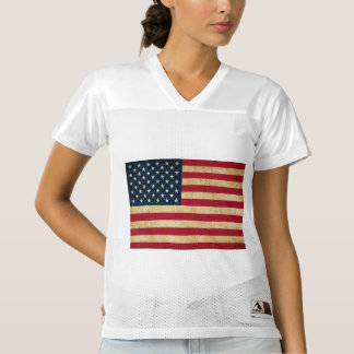 Vintage Grunge American Flag Women's Football Jersey