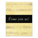 Vintage Grunge Antique Musical Notes Invitations 11 Cm X 14 Cm Invitation Card