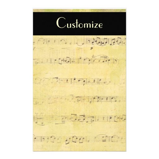 Vintage Grunge Antique Musical Notes Stationery