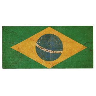 Vintage Grunge Brazil Flag Wood USB Flash Drive