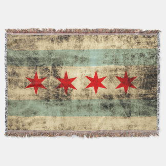 Vintage Grunge Chicago Flag Throw Blanket